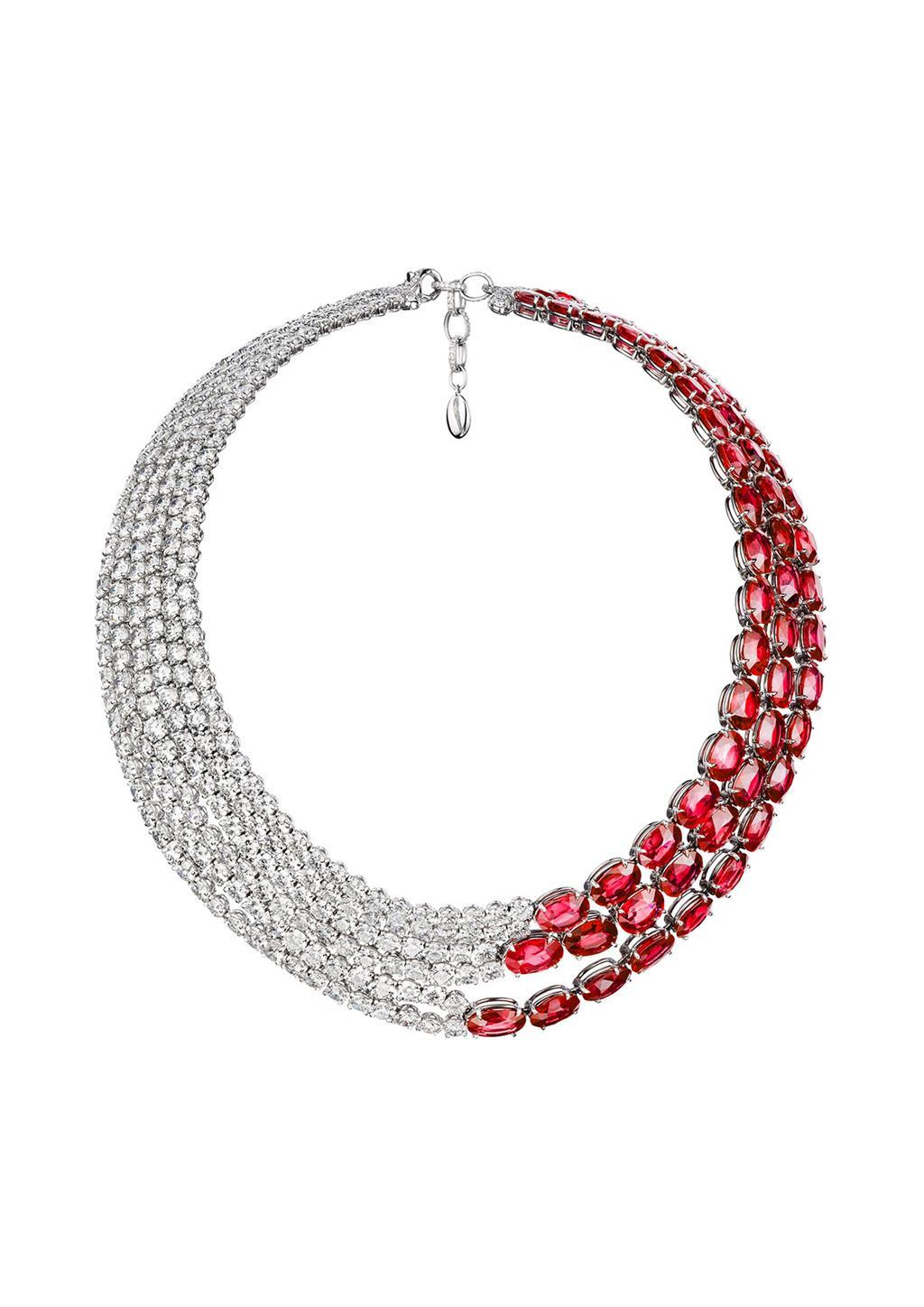 "Necklace ""L'Automne"" - White gold set with 60 oval cut rubies and 280 diamonds"