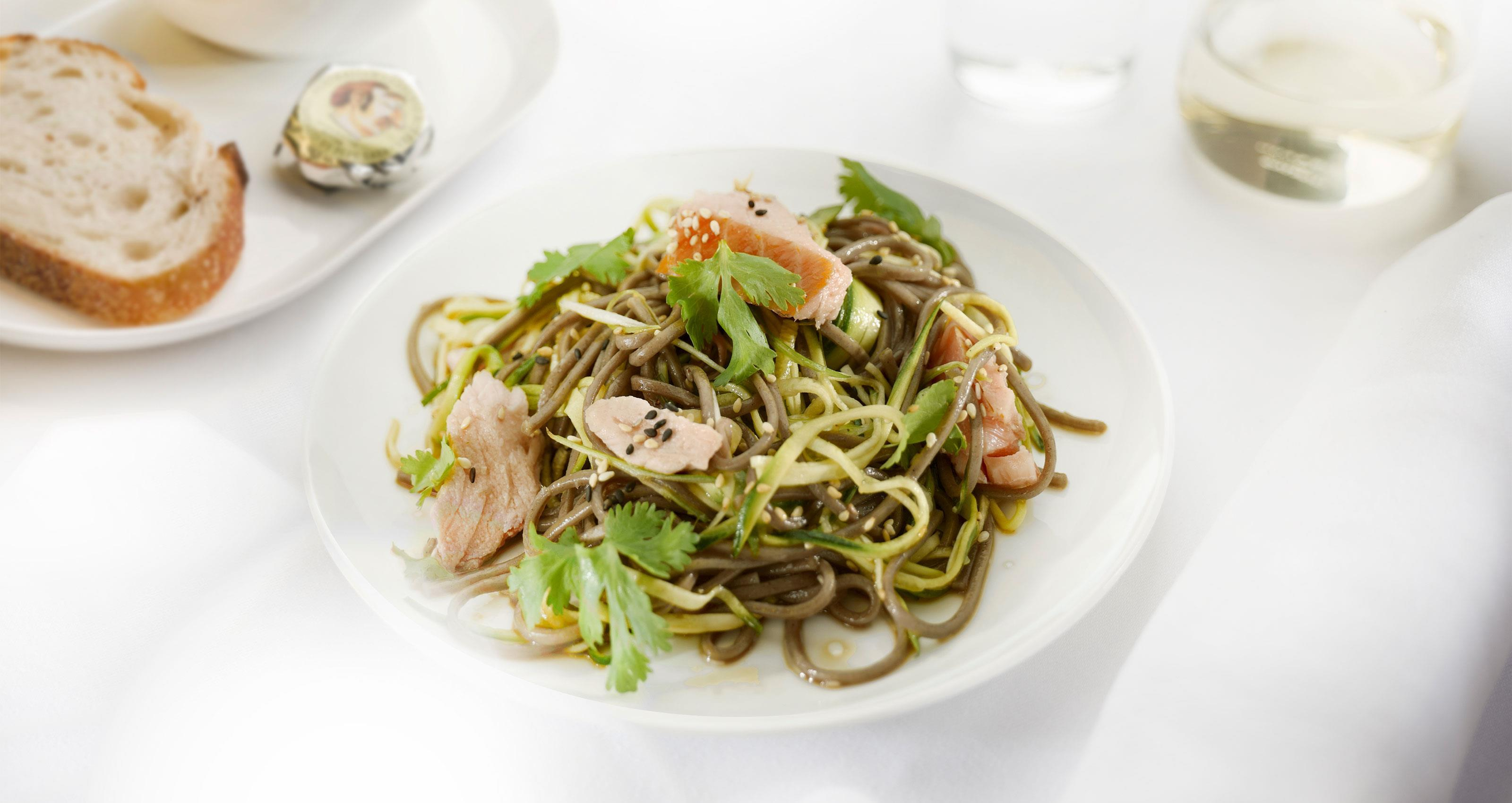 Smoked salmon, soba and raw zucchini noodles with ponzu dressing